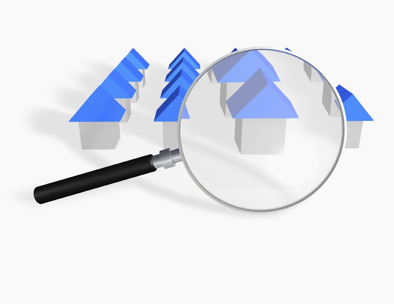 Real estate research abstract concept with blue roof houses and magnifier.